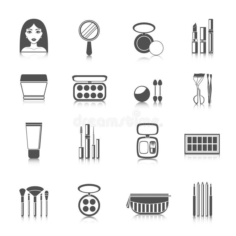 Makeupsymbolssvart vektor illustrationer