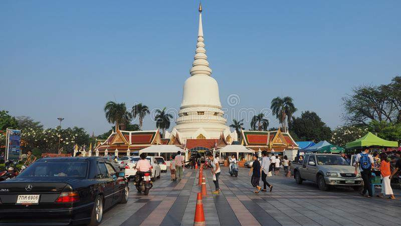 Makha Bucha Day at Thai temple Wat Phra Sri stock images