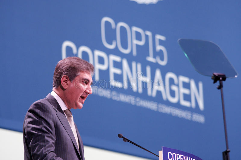 Makhdoom Shah Mahmood Qureshi. Minister for Foreign Affairs of Pakistan Mr Makhdoom Shah Mahmood Qureshi, speaking at the COP15, Climate Change Conference, in royalty free stock image