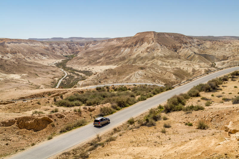 The Makhtesh Ramon, road in Negev desert, Israel stock photos