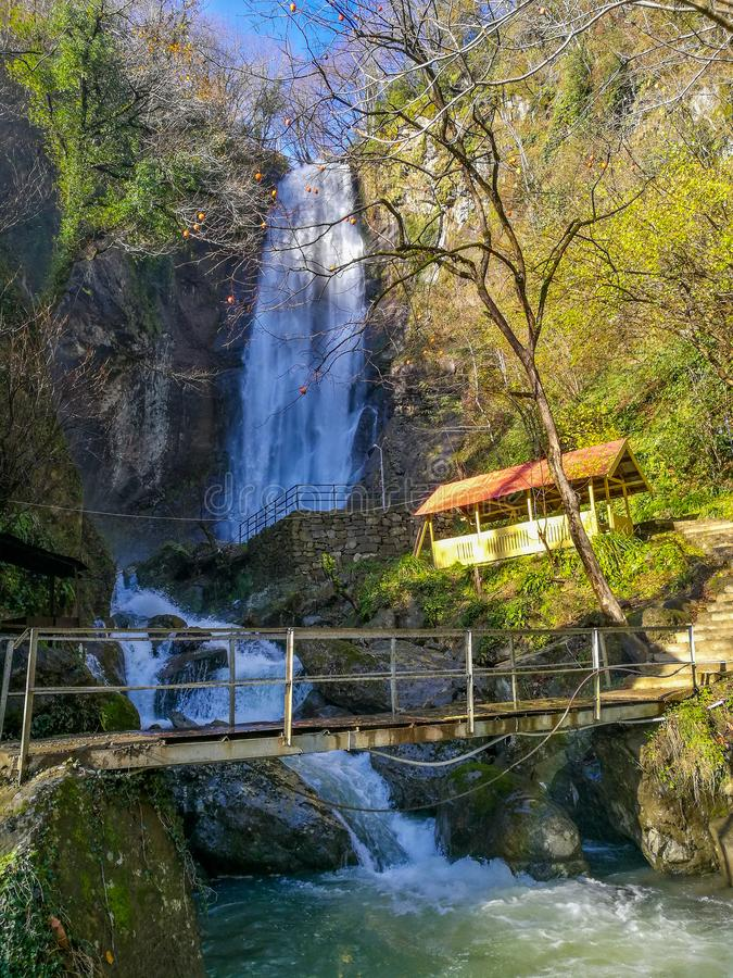 Makhuntseti waterfall in the winter. Makhuntseti waterfall is locatedvnear the town Of Keda, at 335 metersvabove the sea level stock images