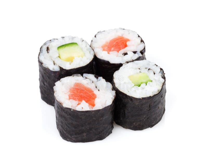 Maki dei sushi messo con il salmone ed il cetriolo fotografie stock