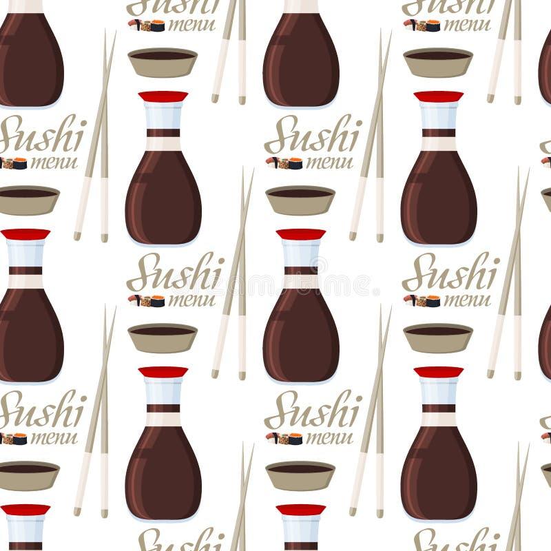 Maki fresco de la comida de Japón de la salsa de soja del modelo del arroz de los pescados de los mariscos del sashimi de los rol stock de ilustración