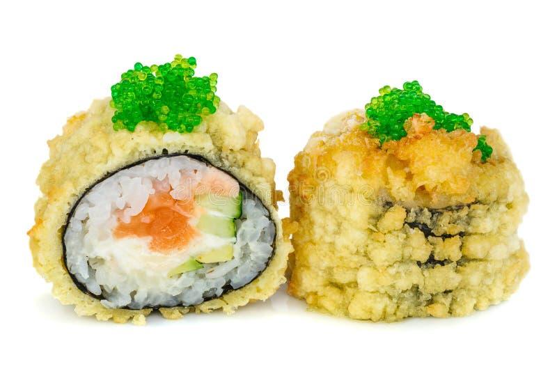 Maki fritto caldo dei sushi della tempura immagine stock