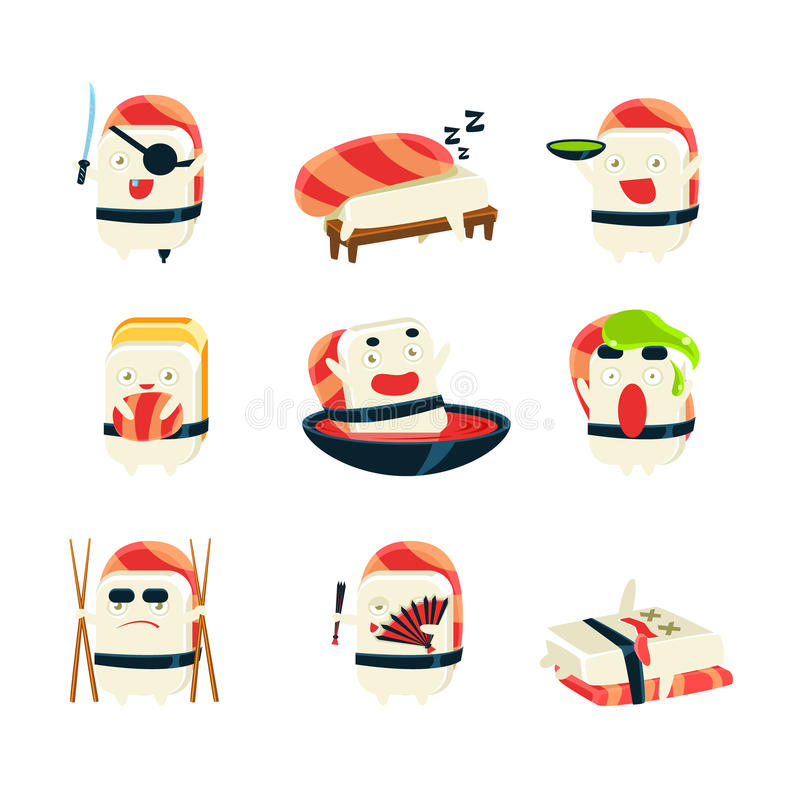 Maki Sushi Character Japan Themed Activities. Set Of Silly Childish Drawings Isolated On White Background. Funny Creature Colorful Vector Stickers Set stock illustration
