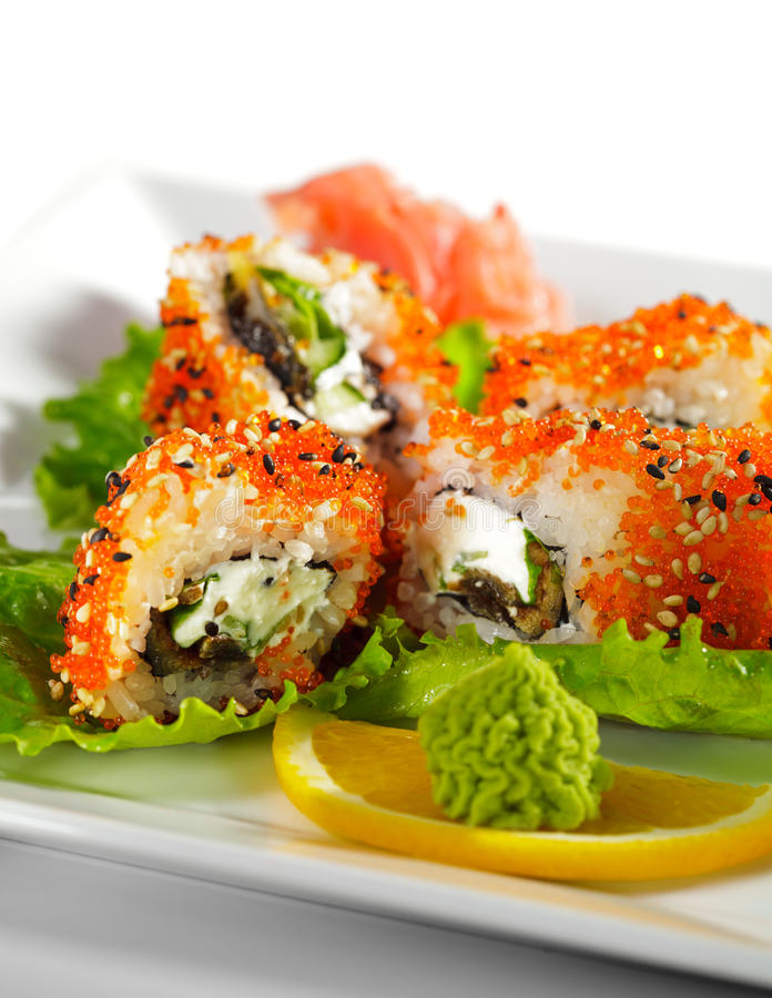 Maki Sushi - Eel And Tobiko Roll Stock Images