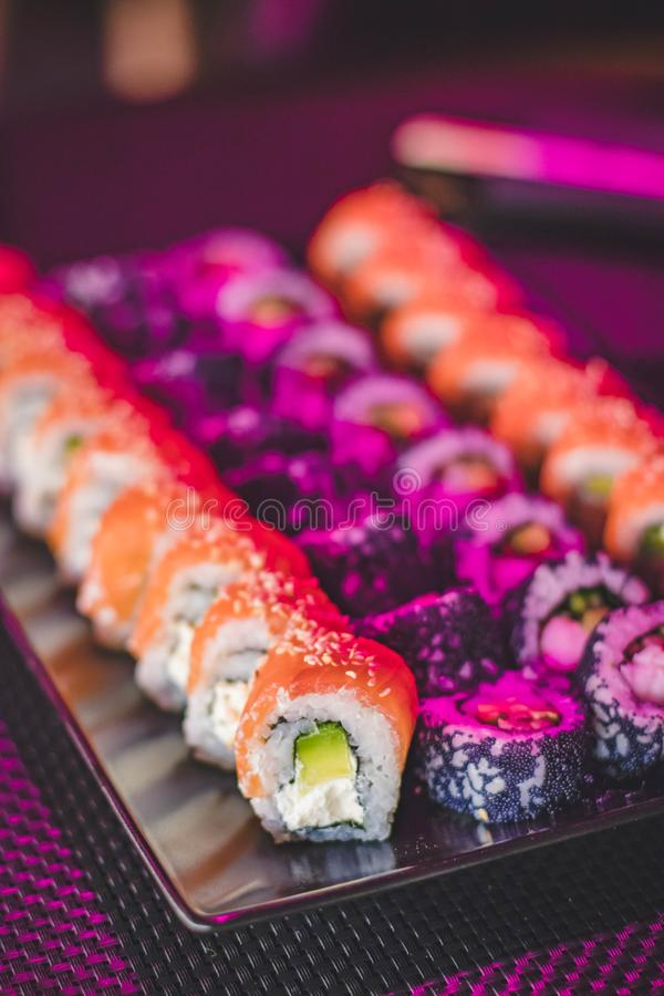 Maki Sushi on Glass Plate royalty free stock image