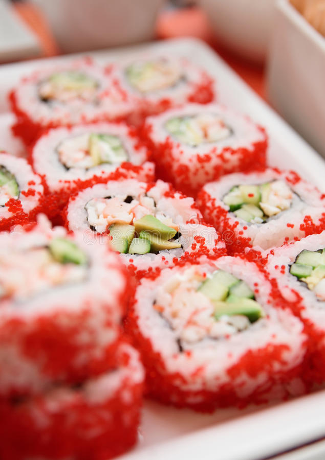 Maki sushi on plate, close-up royalty free stock photo
