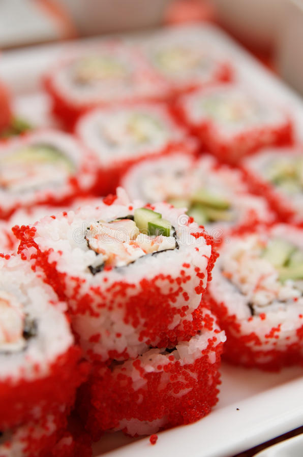 Maki sushi on plate, close-up stock photo