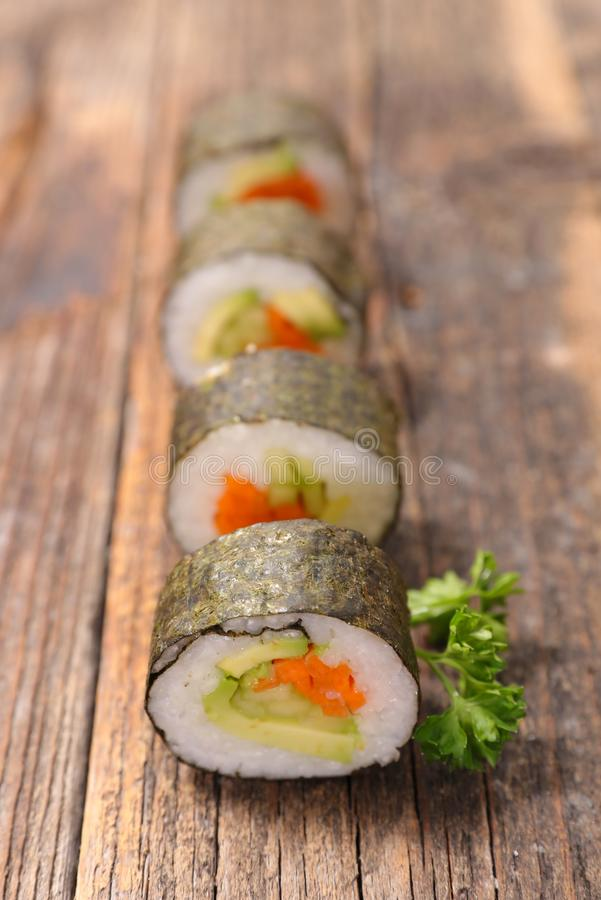maki sushi with rice and vegetable stock photos