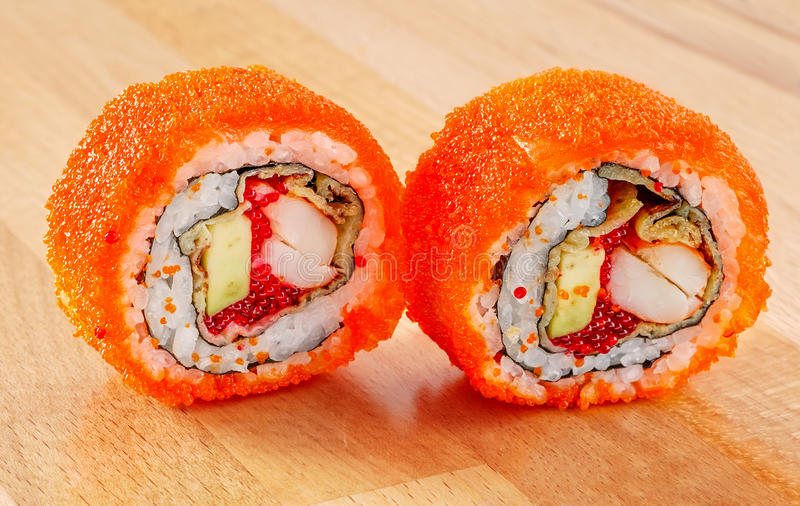 Maki Sushi Roll with Shrimp and Avocado royalty free stock photography