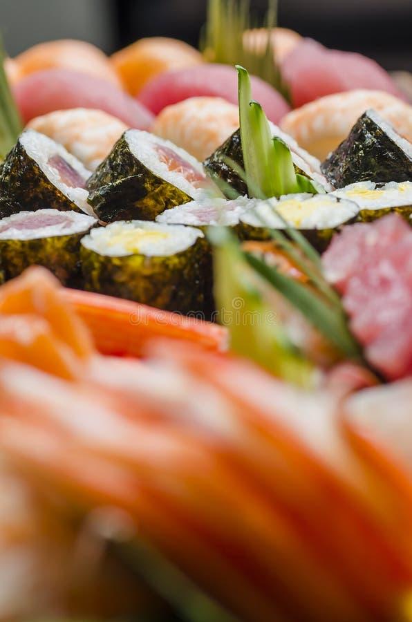 Maki Sushi rolls on a platter stock photo