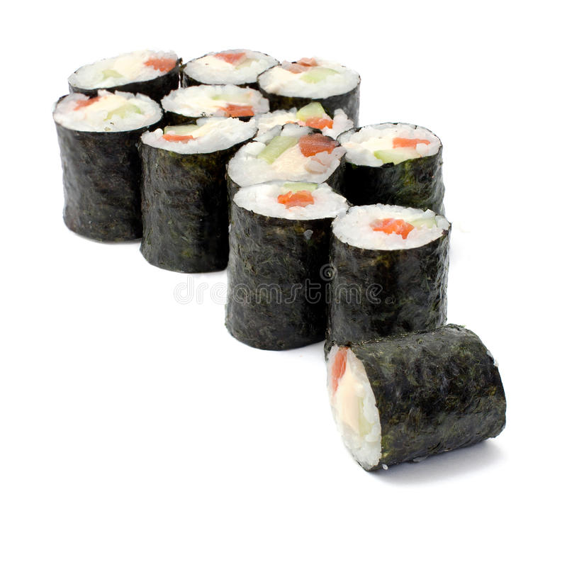 Download Maki Sushi Rolls With Salmon And California Cheese Stock Image - Image: 23533335