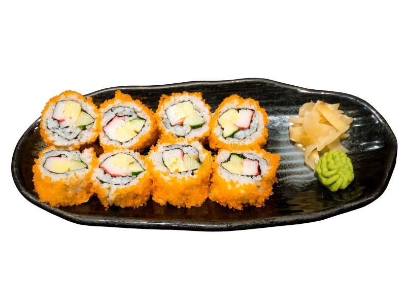 Maki Sushi sul piatto isolato su bianco immagine stock libera da diritti