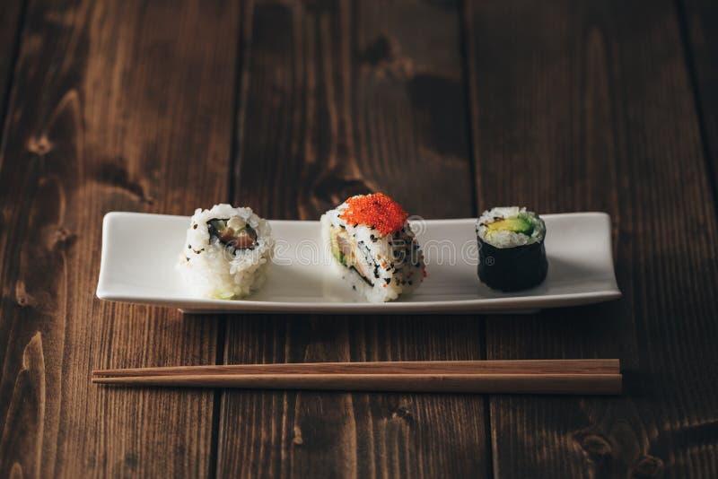 Maki sushivariation royaltyfri bild