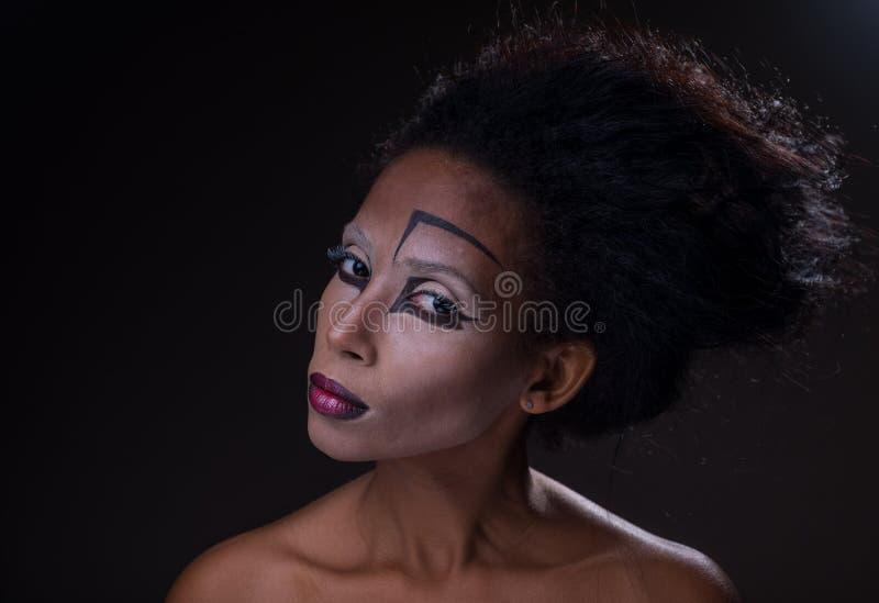Makijaż afroamerykańska dziewczyna fotografia stock