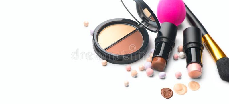 Makijaż Twarz konturowa makijaż, kontur Podświetlenie, cień, mieszanie Produkty makijażu, narzędzia do tworzenia artystów Fundacj zdjęcie stock