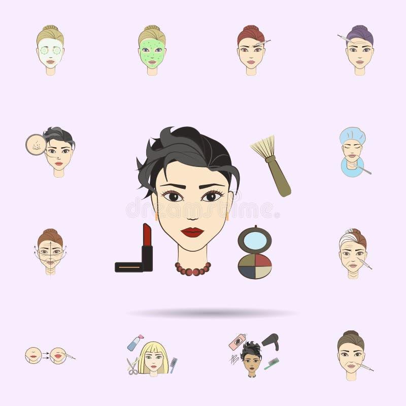 makija? pi?knej kobiety barwiona ikona Pi?kno, starzenie si? ikon og royalty ilustracja
