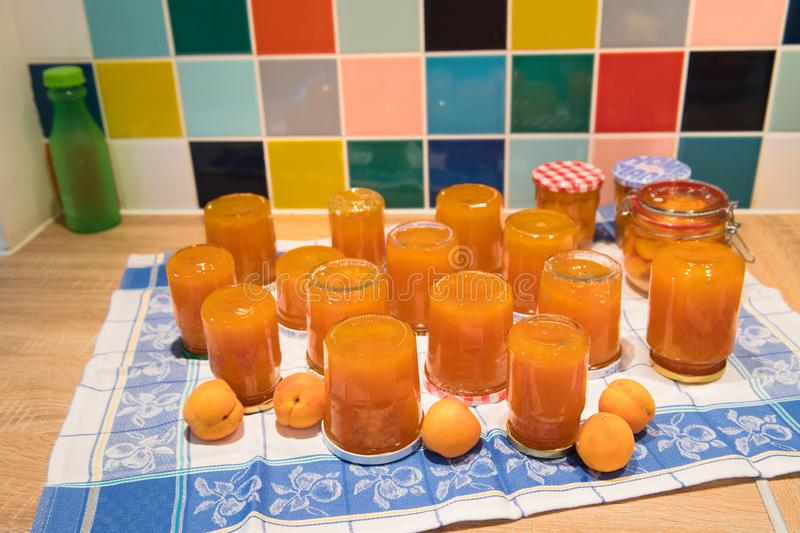Making Apricot jam royalty free stock photography