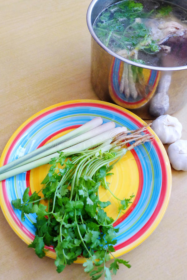 Making asian style soup stock stock images