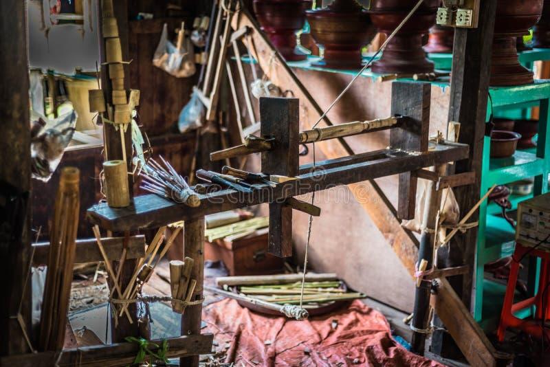 Making of bamboo umbrellas royalty free stock photography