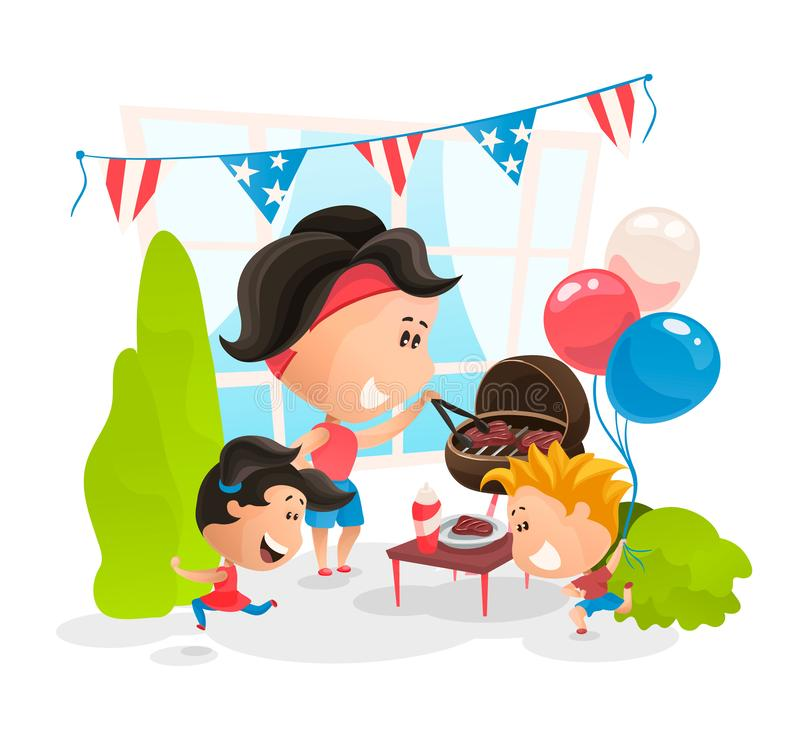 Making BBQ at Independence Day of America. Vector illustration in flat cartoon style.  stock illustration