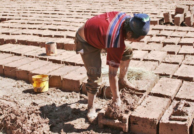 Making Bricks by Hand stock photo