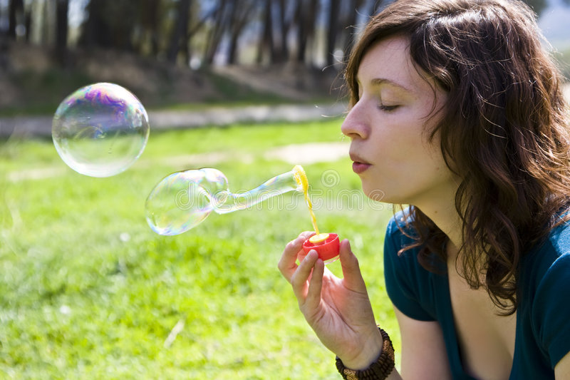 Making bubbles stock photos