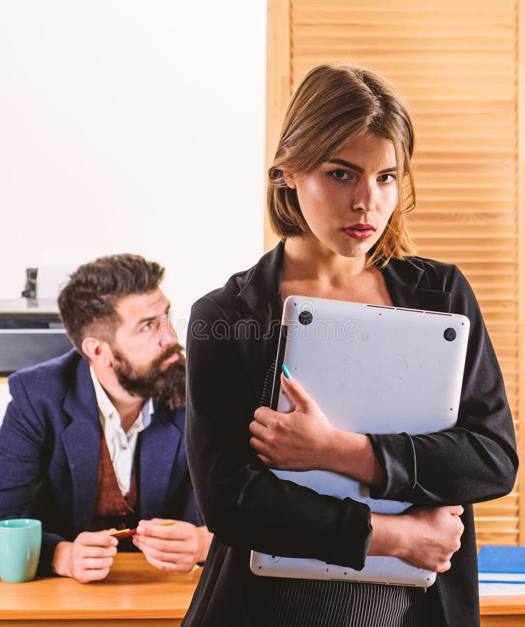 Making career in male club office. Woman working in mostly male workplace. Woman attractive working with men. Office stock images