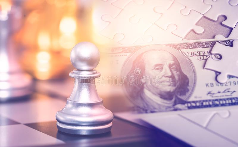 Making Chess strategy for financial solution and profit planning concept stock photos