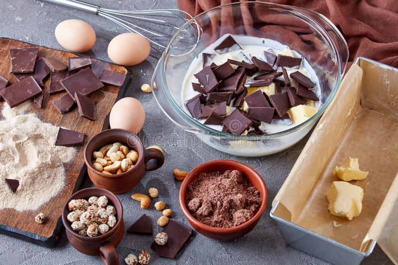 Making chocolate pound cake, top view royalty free stock photos