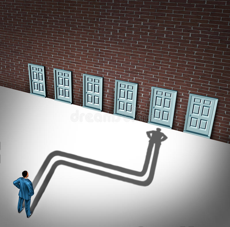 Making A Choice. Opportunity concept as a businessman facing a group of career opportunities with his cast shadow preferring or choosing one door entrance as a vector illustration
