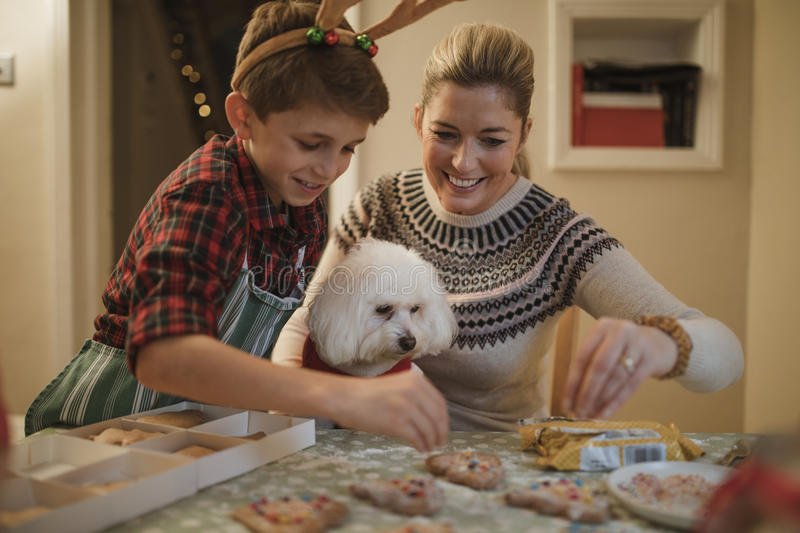 Making Christmas Biscuits With Mum stock photography