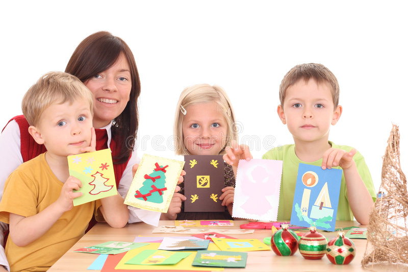 Download Making Christmas cards stock photo. Image of mother, christmas - 3417764