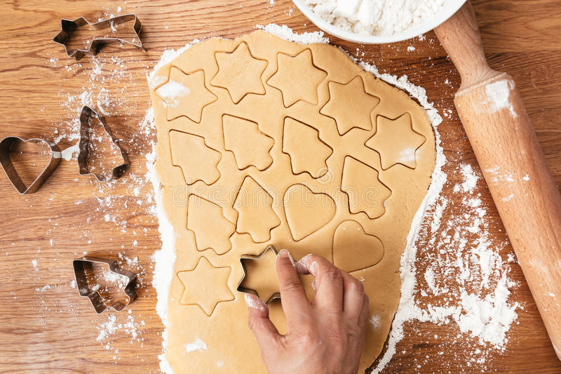 Making Christmas cookies stock images