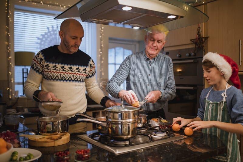 Making Christmas Dinner stock photography