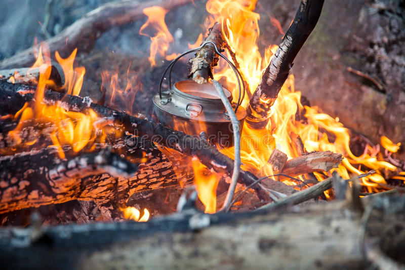 Download Making coffee on camp fire stock image. Image of tree - 43282021