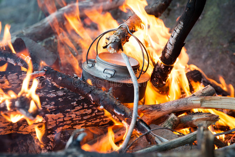 Download Making Coffee On Camp Fire In The Woods Stock Photo - Image: 43282030