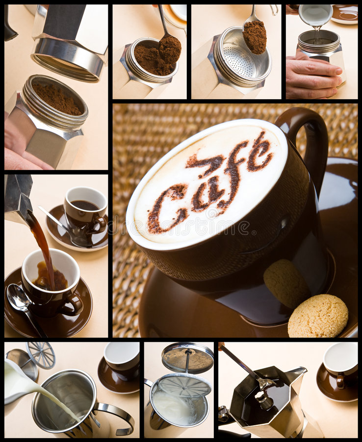 Making coffee composition royalty free stock photos