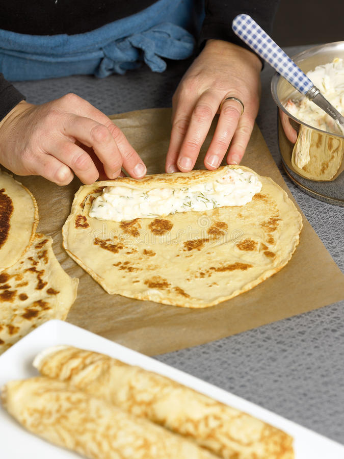 Making crepes stock images