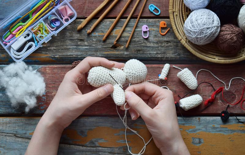 Making crochet white dog. Toy for babies or trinket.  On the table threads, needles, hook, cotton yarn. Handmade gift. Income from. Making crochet white dog. The stock photos