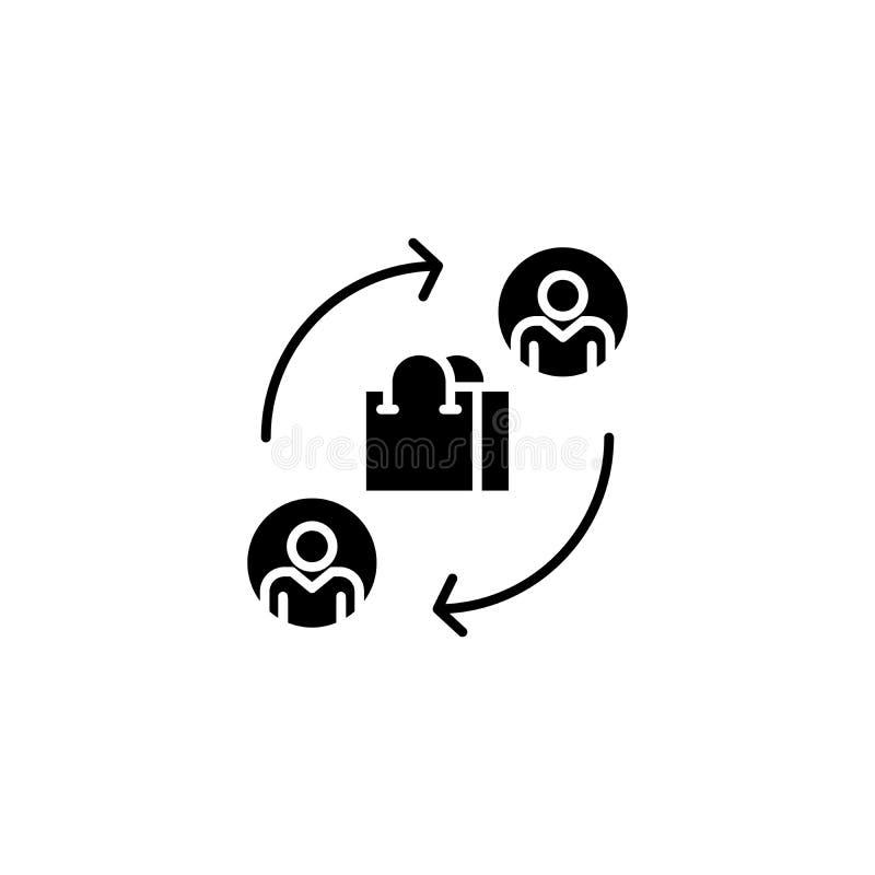 Making a deal black icon concept. Making a deal flat vector symbol, sign, illustration. stock illustration