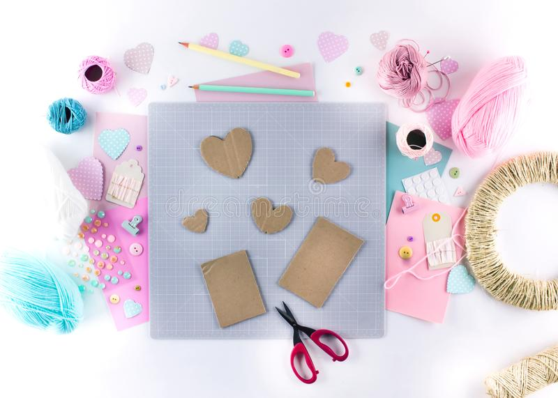Making diy project. Knitting decoration. Craft tools and supplies. Season home valentines day decor. Making diy project. Knitting decoration. Craft tools and stock images