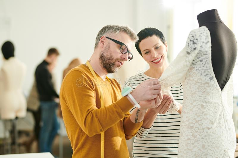 Making dress for new collection royalty free stock photos