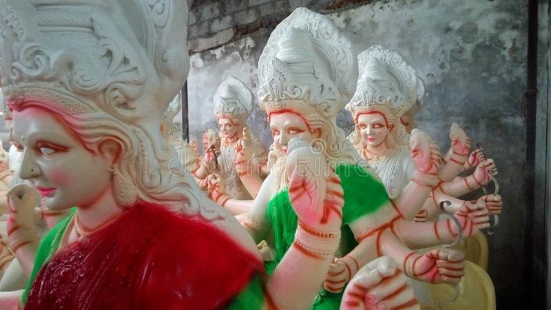 Making Durga status stock photo