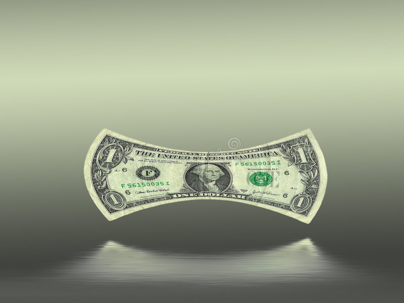 stretched dollar bill over water reflection royalty free illustration