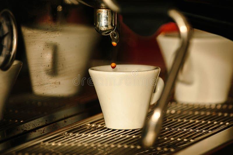 Making espresso. Professional espresso machine in restaurant stock photo