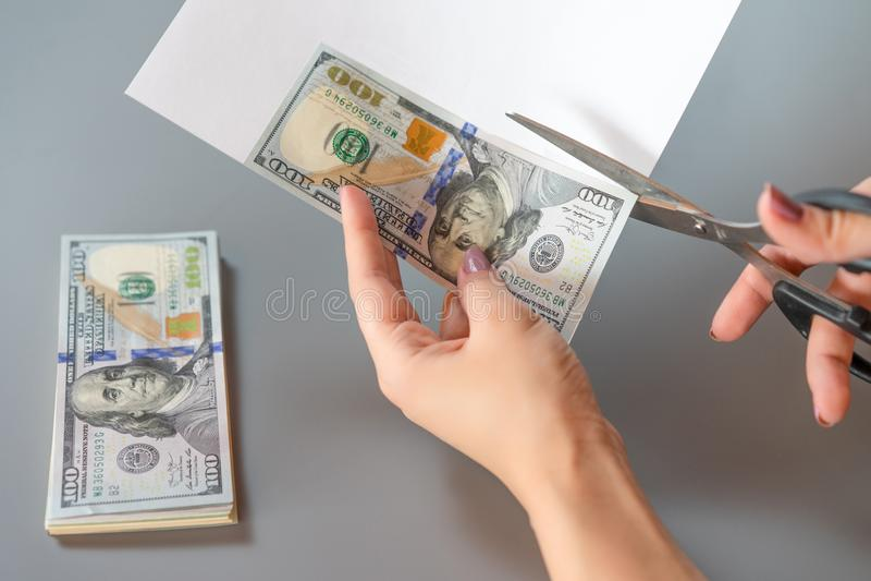 Making fake money. Process make of counterfeit money stock photography