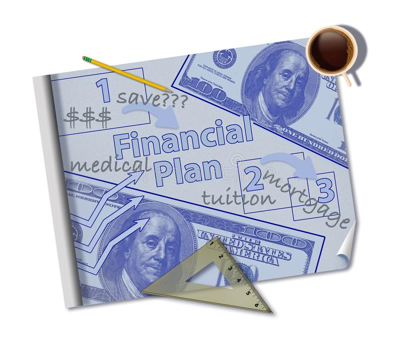Making a financial plan is illustrated with a mock blueprint of a financial plan with coffee, ruler, pencil and notes stock photography