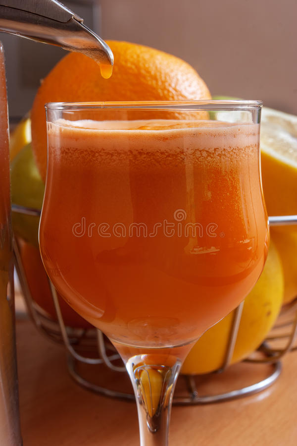 Making fresh juice. From vegetables and fruits royalty free stock photography